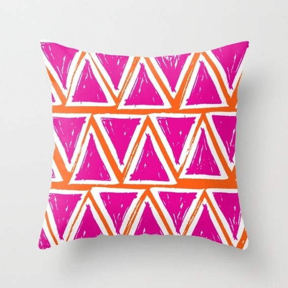 Magenta Throw Pillow . Modern Throw Pillow . Geometric Pillow . Pink Cushion . Triangle Pillow Fuchsia Throw Pillow Cover 14 16 18 20 inch
