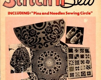 Stitch N Sew March 1968 Crochet Rag Rug Ruffle Doily Pocket Apron Felt Chick Hairpin Lace Applique Doll Quilt Fashion Craft Pattern Magazine