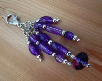 Purse Zipper Charm Beaded Purple Silver Work Lanyard Handbag Identification tag key ring
