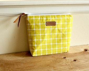 Yellow floral Pouch/clutch/ Zipper purse/ makeup bag /leather trim- Ready