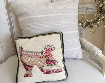 Needlepoint Pillow ... Victorian Shoe.. Green Velvet square decorative Pillow