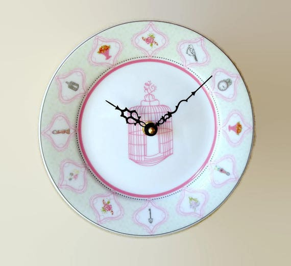 Pink Bird Cage Wall Clock, Silent 8 Inch Porcelain Plate Clock, Cottage Chic Wall Clock - 2347
