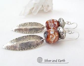 Sterling Silver Dangle Earrings, Agate Earrings, Faceted Gemstone Earrings, White Black Earrings Stone, Bold Modern Silver Jewelry Handmade