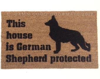 This House Is German Shepherd Protected™ Doormat Safety Love Dog Door Mat
