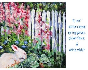 """Bunny & spring garden, original acrylic art, cotton 6"""" x 6"""" canvas"""