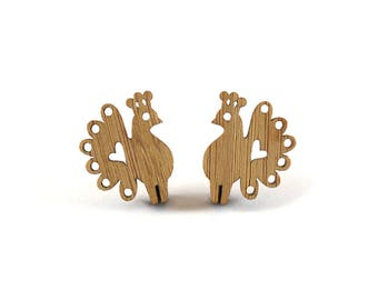 Peacock Earrings, Bamboo Peacock Stud Earrings, Wooden Peacock Earrings, Gift for her