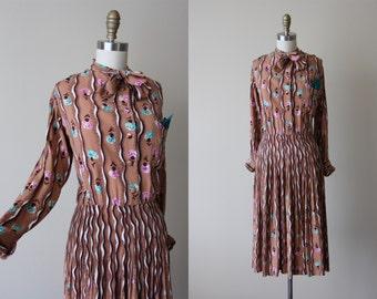 40s Dress - Vintage 1940s Dress - Cocoa Brown Deco Rayon Falling Carnation Flowers Swing Dress L - Sweet Esther Dress