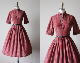 50s Dress - Vintage 1950s Dress - Red Plaid Cotton Shirtwaist Full Skirt Dress XS - Paprika Kiss Dress