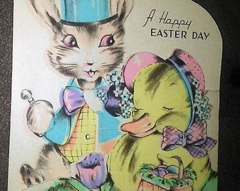 1938 Easter Card- Bunny & Duckling
