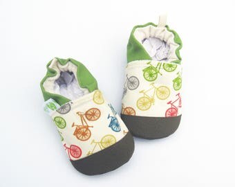 Organic Vegan Fun Bikes with Lime/ non-slip soft sole baby shoes / made to order / babies toddlers preschool