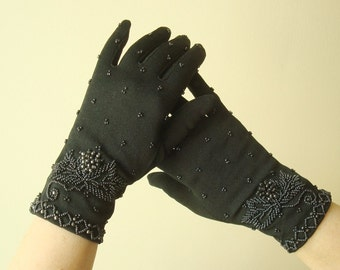 Vintage black beaded gloves, wrist length gloves, size Medium, washable stretch nylon, British Crown Colony of Hong Kong, 1950-1960s