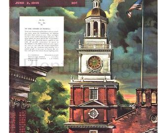 1945 The Saturday Evening Post Magazine Vintage Cover, Independence Hall, Philadelphia, Vintage Illustration, Illustrator Allen Saalburg.
