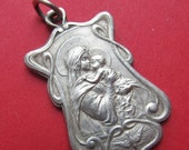 On Sale Virgin Mary Jesus Madonna Antique Religious Medal Christian Mothers French Pendant  SS314