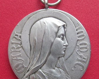 Antique Virgin Mary Pope Pius X Religious Medal Signed Kissing Catholic Pendant Signed Kissing  SS465