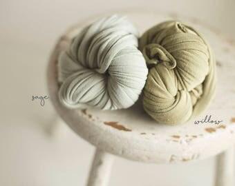 Stretch Knit Wrap - Newborn Stretch Wrap - Baby Knit Wrap - ULTRA Stretch Wrap - Sage or Willow green - Luminous Wrap