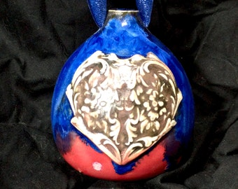 Handmade Wheel Thrown Art Nouveau Floral Heart Sapphire Blue Crystalline and Red Glazed Porcelain Christmas Tree Ornament