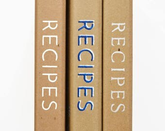Recipe Binder -- Hand-Stenciled Cover  - Heavy-duty recycled cardboard - 3-ring binder for recipes - Binder only - no inserts - Royal Design