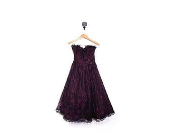 BTS SALE Vintage 80s Black & Purple GUNNE Sax Strapless Lace Full Skirt Party Dress women xs s prom cocktail retro hip hop hipster vestieste