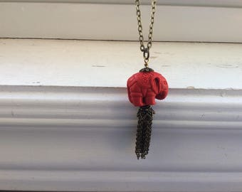 Elephant Necklace -Red Cinnabar Elephant Necklace - Red elephant cinnabar tribal necklace -Free Gift With Purchase