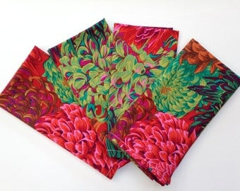 4 Philip Jacobs Handmade Japanese Chrysanthemum Cloth Napkins