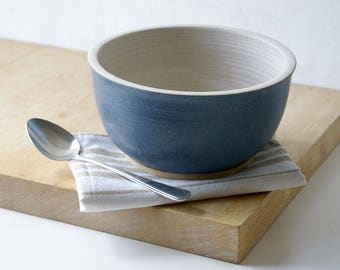 Handmade stoneware serving bowl - wheel thrown bowl in vanilla cream and smokey blue