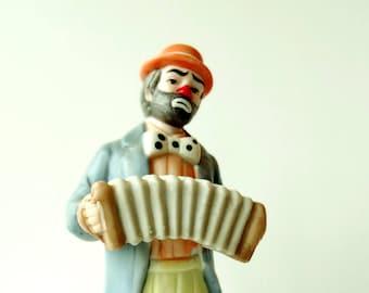 Vintage Emmet Kelly Jr. aka Weary Willy Sad Clown with Accordian Figurine - Flambro Taiwan R O C