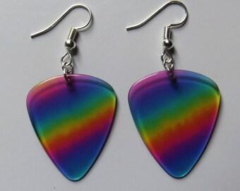 Rainbow guitar picks earrings