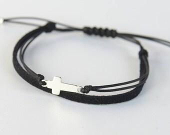 Sterling Silver Cross charm bracelet. Mens bracelet