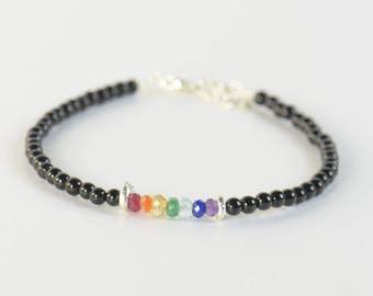 7 Chakras gemstones and black tourmaline beads  bracelet