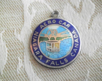 Vintage BMCo Sterling AERO CAR Niagara Falls Canada Travel Disk Charm