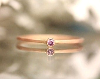 Holidays Sale - Genuine Pink Diamond 14K Rose Gold Ring, Gemstone Ring, Stacking Ring, Engagement Ring, Eco Friendly, Anniversary Ring - Mad