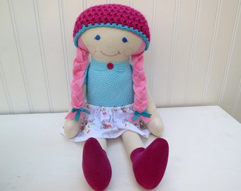 Rag Doll Cloth Doll Pink Hair Blue Eyes Ready to Ship