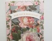 "Handmade Birthday Day Card - 5,5"" x 4"" -Anna Griffin greeting card"
