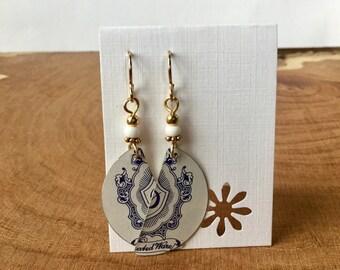 Repurposed Vintage German Dehar Tin earrings