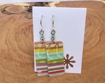 Pastel Repurposed Starbucks gift card earrings