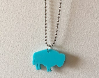 Buffalo Necklace in Turquoise Blue Lasercut Acrylic Plastic, Boho Chic Style, Bison Wild Animal Shape