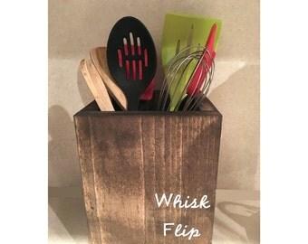 Utensil holder, wooden box, kitchen organizer, utensil organizer, kitchen decor, reclaimed wood, rustic kitchen, kitchen storage, whisk