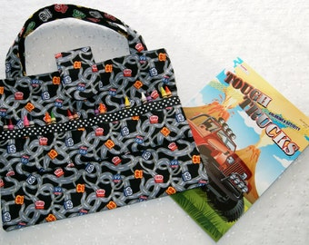 Child Coloring Book and Crayon Tote, Route 66, Travel Activity Bag, Kids Arts and Crafts Organizer, Crayon Caddy, Restaurant Activity Bag