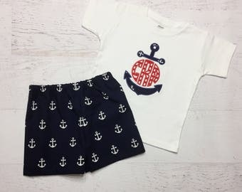 Anchor Monogram Outfit - Nautical Shirt - Boy Summer Applique Shirt - Initial Shirt - Anchor Shirt - Boy Summer Outfit