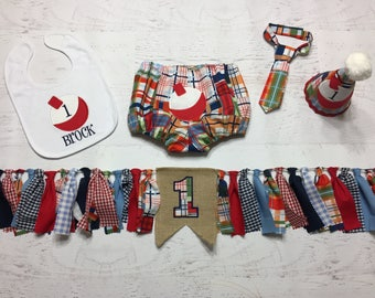 Fishing Bobber Birthday Set - Smash Cake Outfit - Fisherman Outfit - Baby Boy First Birthday - Plaid Diaper Cover - Birthday Hat and Banner