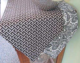 "Gray Black Geometric Table Runner 54"" 72"" Reversible Gray Paisley Table Runner Gray Greek Key Table Runner Grey and Black Kitchen Decor"