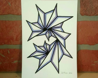5 X 7 Original freehand drawing - marker on watercolor paper - modern abstract art - NOT a print - minimalist home decor - purple accents