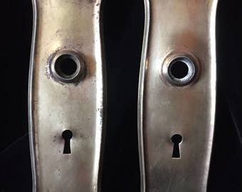 Vintage Pair Brass Entry Door Plates with Key Hole
