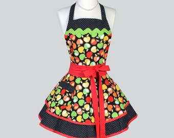 Ruffled Retro Apron , Candy Apple Red and Granny Smith Apple Green with Black Dots Womens Apron Ideal Personalized Birthday Gift for Her