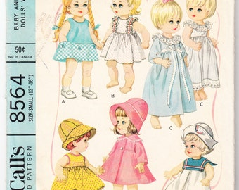 """Vintage 1966 McCall's 8564 Craft Sewing Pattern Wardrobe For Baby and Toddler Dolls Size Small (12""""-16"""")"""