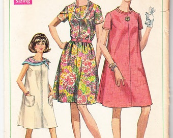Vintage 1968 Simplicity 7551 Sewing Pattern Misses' Dress In Half Sizes Size 12-1/2 Bust 35