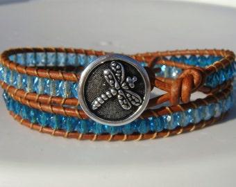 Dragonfly Bracelet Blue Beaded Leather Bracelet