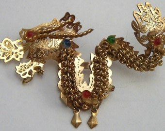 Rhinestone Dragon Brooch Vintage Pin