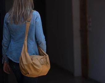 Light brown leather crossbody bag, hobo bag shoulder purse caryall bag crossover long strap- Crossbody Kallia bag