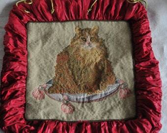 vintage cat pillow, tapestry pillow cover, Christmas red decoration